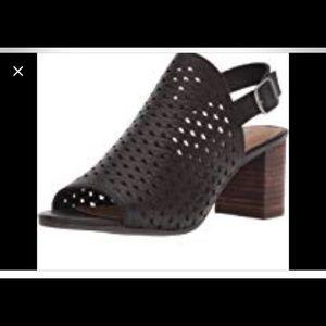 NWOT Lucky Brand Black Mesh Heeled Sandal